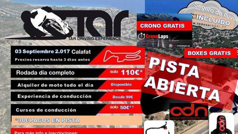 El 3 de septiembre, domingo de pista abierta en Calafat con Todos A Rodar