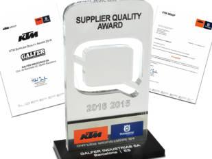 """Galfer recibe el """"KTM Supplier Quality Award"""""""