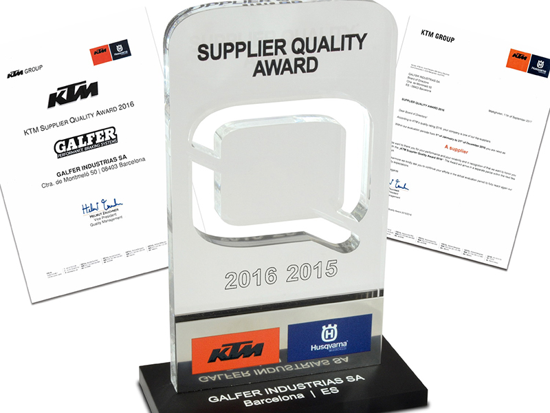 "Galfer recibe el ""KTM Supplier Quality Award"""