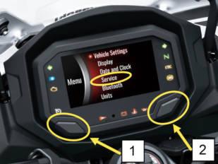 El indicador de mantenimiento de Kawasaki
