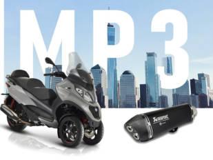 Escape Akrapovič para la Piaggio MP3 500 con un 25% de descuento